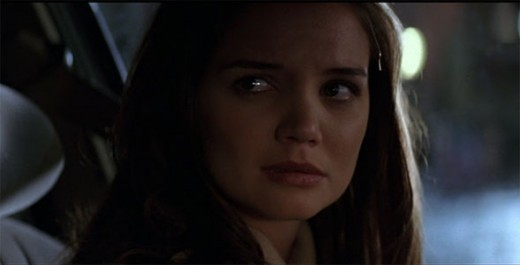 Not sure if she's terrified of how bad she is in Batman Begins or because she just married Tom Cruise