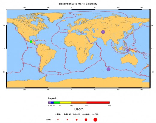 Map of all worldwide earthquakes of at least 6.4 magnitude for the month of December 2015.