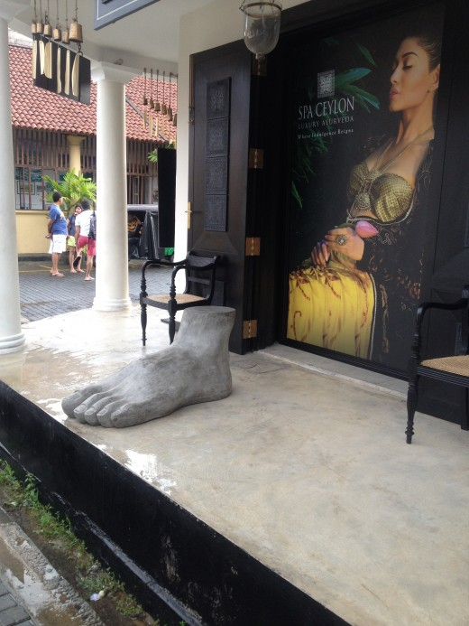 Stone food, signature trade maker of Spa Ceylon, displayed outside every store.