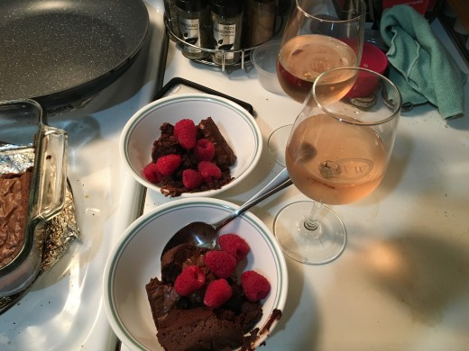 To surprise my boyfriend I made brownies with raspberry dessert wine and fresh raspberries. I even used the wine in batter in place of the water. So good, so much flavor.
