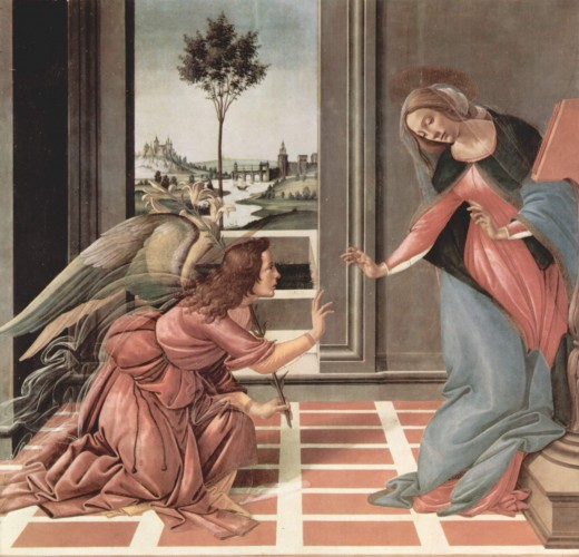 Sandro Botticelli (1445–1510)  Title: (Italian) Annunciazione Date: Between 1489 and 1490 Mediumtempera on panel Current locationUffuzi Gallery