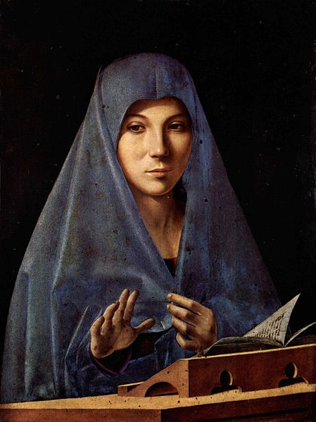 Artist: Antonello da Messina (1430–1479)    Title	: Virgin Annunciate Date:1475 Medium	oil on panel Current location: Galleria Regionale della Sicilia