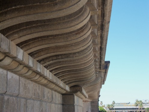 Close up of the massive granite blocks