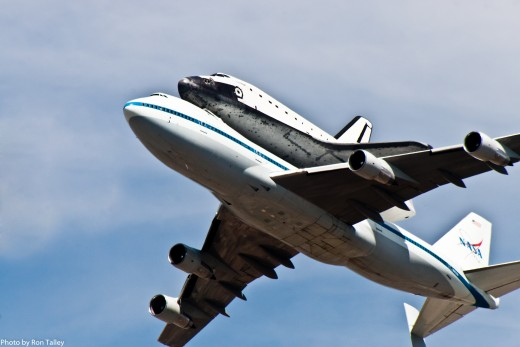 The Endeavor flying over South Los Angeles