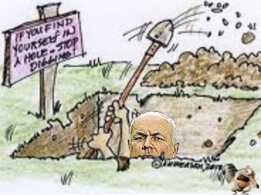 Cartoon Of Iain Duncan Smith, Work And Pensions Secretary In The UK Government, Bringing In 'Universal Credit' For Those On Benefits.