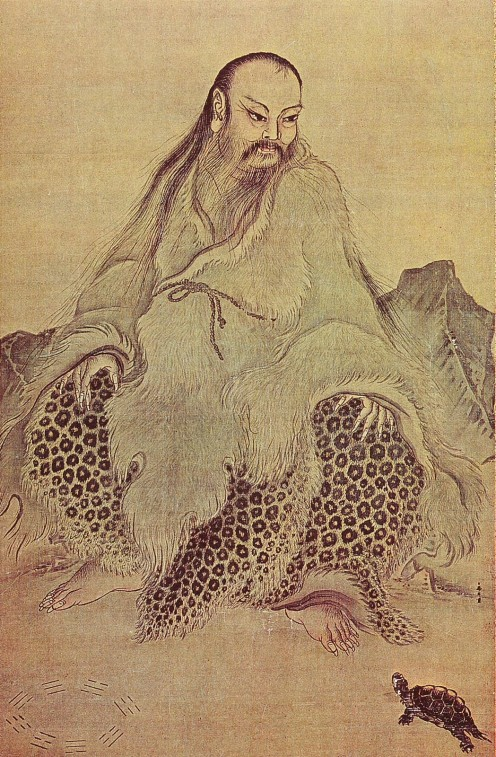 Fu Xi watches the Luo Shu turtle emerge from the River Luo.