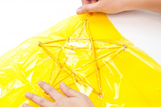 Stretch the cellophane over the glued wood star.  Read the directions and be careful.