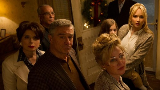 Tense domestic drama: L to R: Isabella Rosselini as Rudy's girlfriend Trudy, De Niro as Rudy, Virginia Madsen as Joy's TV-obsessed mother, and Joy (Jennifer Lawrence) with her young daughter.