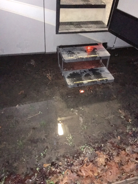 Standing water at our camper entrance forced us to walk around in up to 6-inches of water everywhere.