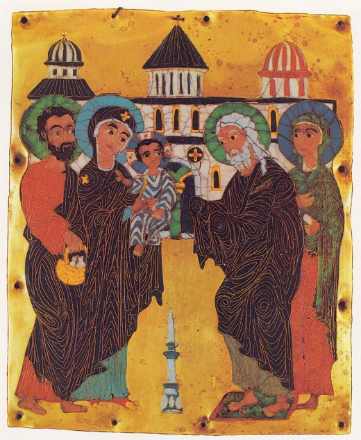Presentation of Jesus at the Temple. A cloisonné enamel work from Georgia. 12X10 cm. Now on display at the Museum of Fine Arts in Tbilisi, Georgia.