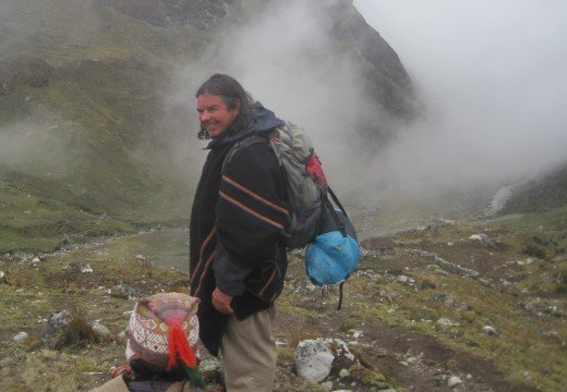 A shot of Robert as we just begin our decent into the mountains of Peru near Japu.
