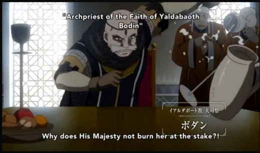 Archpriest Bodin and his cult-like relgious fanatics (a parody of Christianity) play a much larger role in this rendition of the series, as the faith of Yaldabaoth is the sole reason why Pars and Lusitania can't coexist.