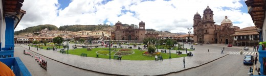 Plaza de Armas from a local cafe balcony during breakfast.