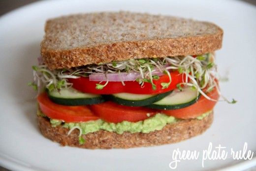 Avocado sandwich. Click the i that appears on picture when you hover over it and it takes you to the article that this is from. There you can see their version for making the avocado sandwich that the picture is from.