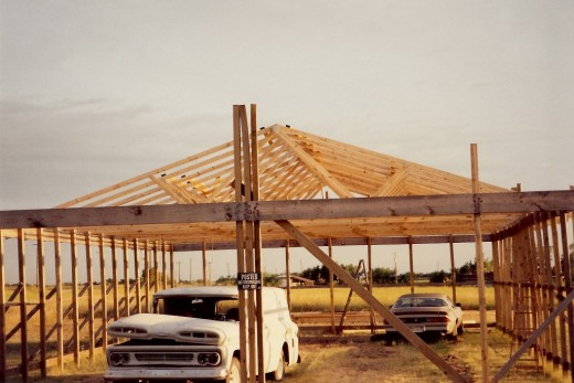 Roof trusses added to the structure and other projects stored inside
