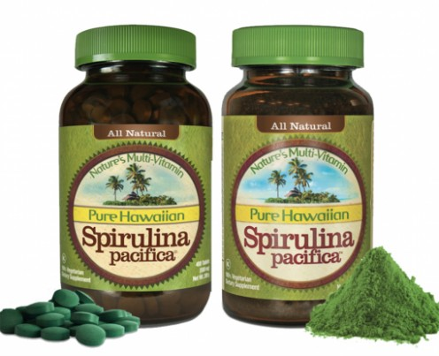 An example of Spirulina supplements in powder or pill form by Pure Hawaiian
