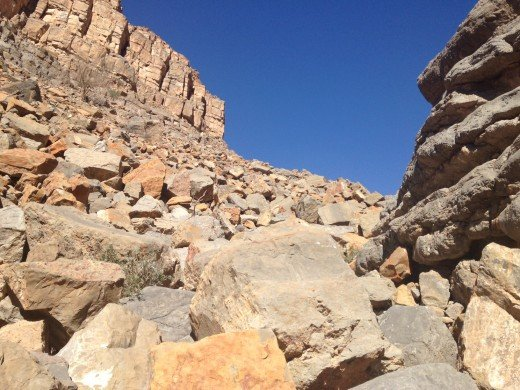 Boulders become more difficult to climb with very steep inclines
