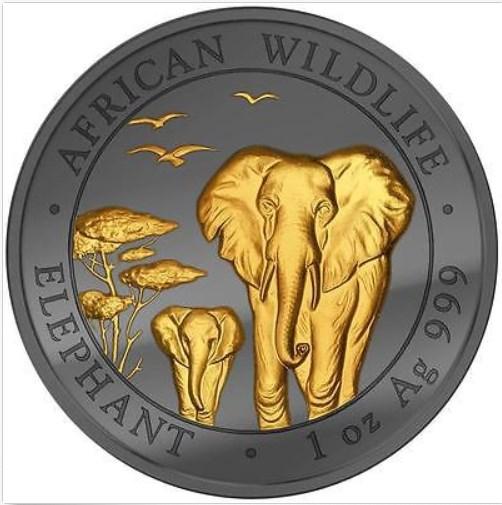 1 OZ Silver Somalia Elephant Coin.