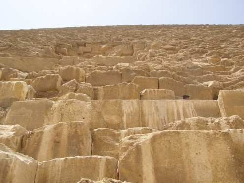 Looking up the side of the Great Pyramid