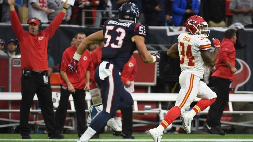 Knile Davis takes the opening kickoff back 106 yards for a TD.  The Chiefs never looked back at this point.  Well Knile did during this run.