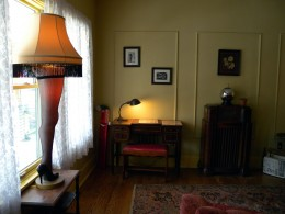 """The famous """"Leg Lamp"""" award in the window from the movie """"A Christmas Story."""""""