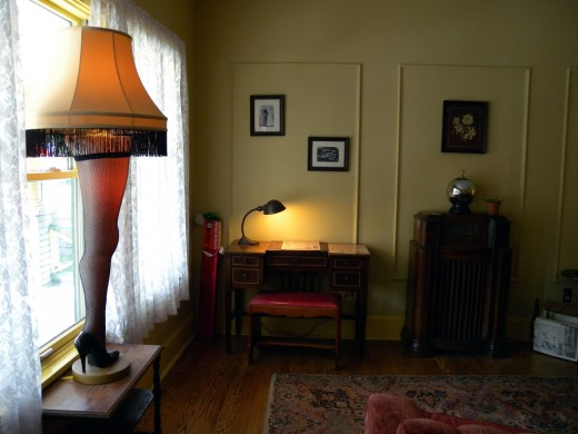 "The famous ""Leg Lamp"" award in the window from the movie ""A Christmas Story."""