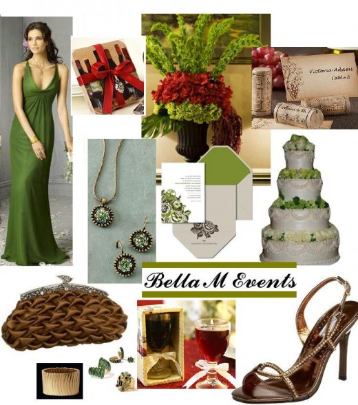 Green Brown and Cranberry color tons for a wine themed wedding