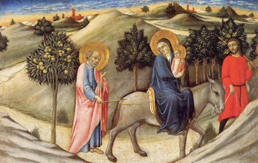 Artist	 Sano di Pietro (1405–1481)  Title	The Flight into Egypt Date	circa 1445 Medium	panel Current location	 Pinacoteca Vaticana