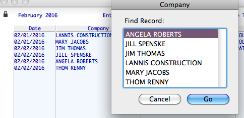 Company Field and Resulting List Dialog