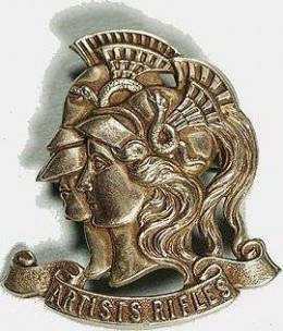Regimental cap badge of The Artists' Rifles with Mars and Minerva representing warfare and the arts,