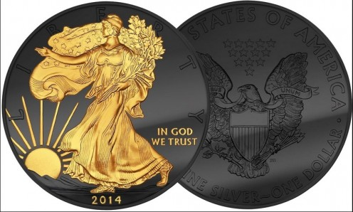2014 1 oz Silver United States American Eagle with Walking Liberty Dollar -  Enigma Collection.