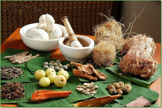Some ingredients used in Ayurveda.