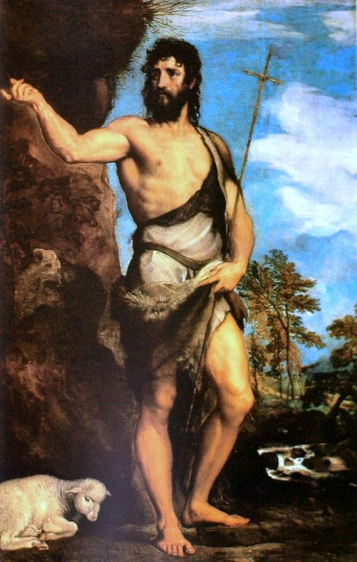 Artist	 Titian (1490–1576)   Title	 English: St. John the Baptist   Date	1542 (or 1530-32) Medium	oil on canvas Dimensions	201 × 134 cm (79.1 × 52.8 in) Current location	  Accademia of Venice