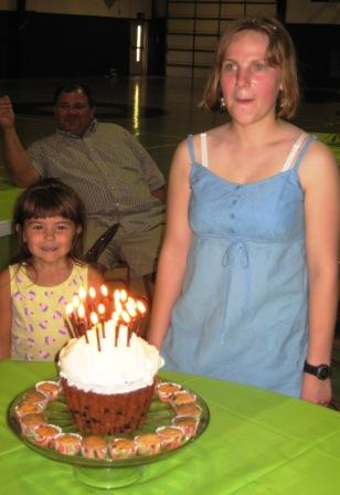 My daughter, Tiffany, on her 16th birthday with her muffin. The man in the background is her father, David. The little girl is the daughter of friends at our church.