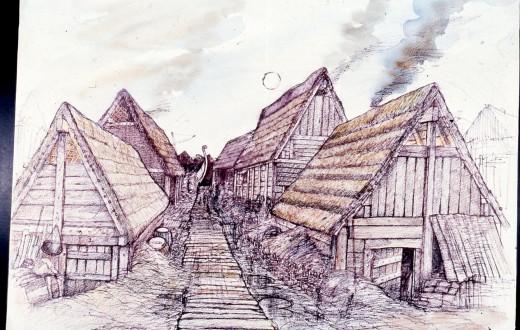 An artist's impression of a walkway in Viking Age York - Jorvik