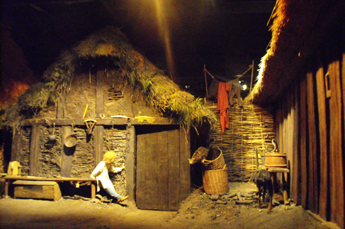 Dwellings reconstructed in the Jorvik Viking Centre on Coppergate - to the rear of the Castle Museum