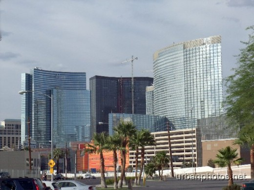 """Rear view"" of CityCenter Las Vegas (photo taken from the parking lot of the Tropicana Ave. In-N-Out Burger)"