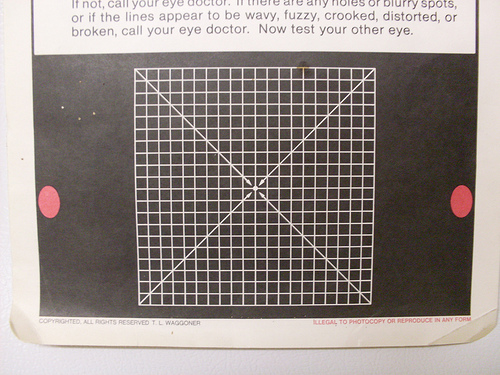 The Amsler Grid Test is part of the examination for macular degeneration. While staring at the center dot, if you see wavy lines, missing areas of the grid, or can't see the corners, set up an appointment with your eye doctor.