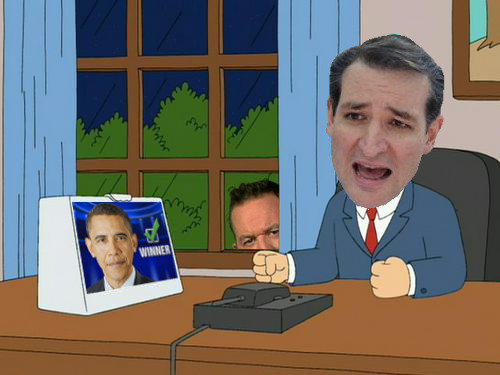 Cartoon Lampooning Republican Presidential Candidate Ted Cruz.