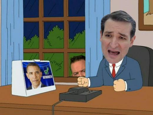 Cartoon Lampooning Republican Presidential Candidate Ted Cruz.
