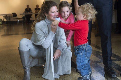 Sophie with two of her children as she voted on election day