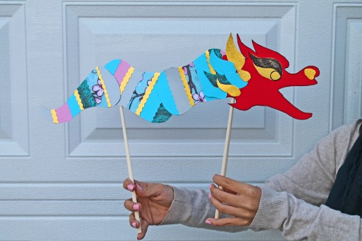 Here is another Chinese Dragon made with the printable template from China Family Adventure.  Kid Crafts for Chinese New Year