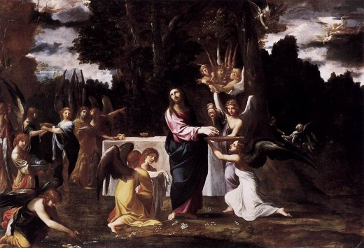 Artist Ludovico Carracci (1555–1619)    TitleChrist Served by Angels in the Wilderness Datebetween 1608 and 1610 Mediumoil on canvas DimensionsHeight: 157 cm (61.8 in). Width: 225 cm (88.6 in).