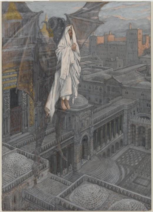 Artist James Tissot (1836–1902)  Title Français : Jésus porté sur le pinacle du Temple English: Jesus Carried up to a Pinnacle of the Temple  Datebetween 1886 and 1894 Medium