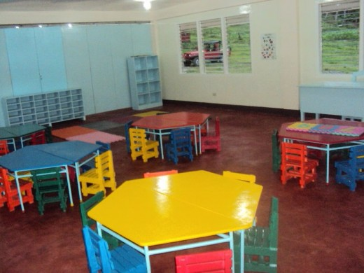 Bamboo furniture and fixtures in a school.