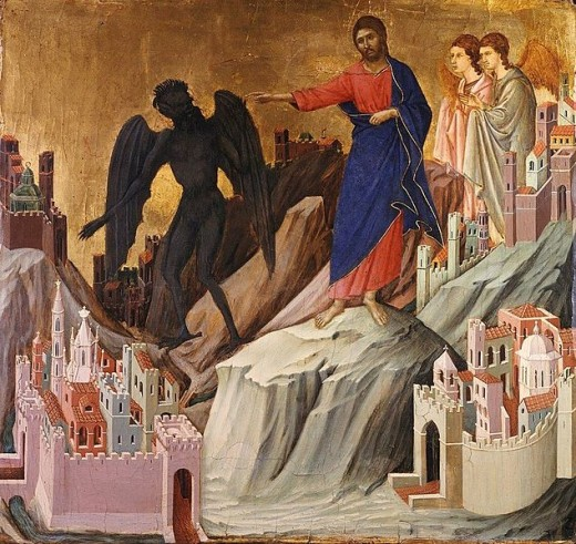 Artist Duccio (1260–1318) Title English: Temptation on the Mount Datebetween 1308 and 1311 Mediumtempera on wood DimensionsHeight: 43 cm (16.9 in). Width: 46 cm (18.1 in).