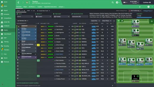 FM16 tactics window: R. Betis Squad