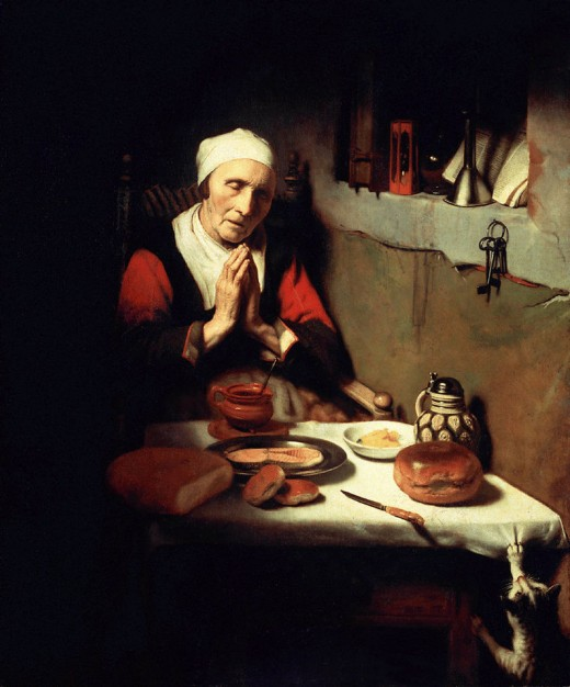 Artist	 Nicolaes Maes (1634–1693)  Title	Old woman in prayer, known as 'Prayer without end'  Date	Circa 1656 Medium	oil on canvas Dimensions	Height: 134 cm (52.8 in). Width: 113 cm (44.5 in). Current location	 Rijksmuseum Amsterdam