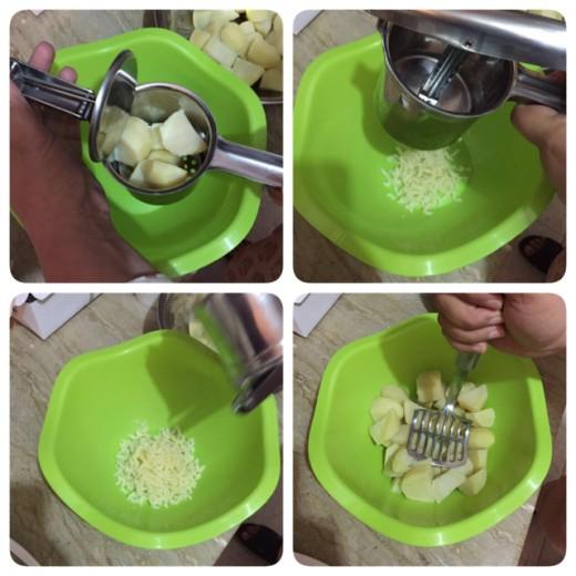 Mash boiled potatoes