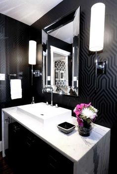Matte black patterned wall paper with white marble & accents